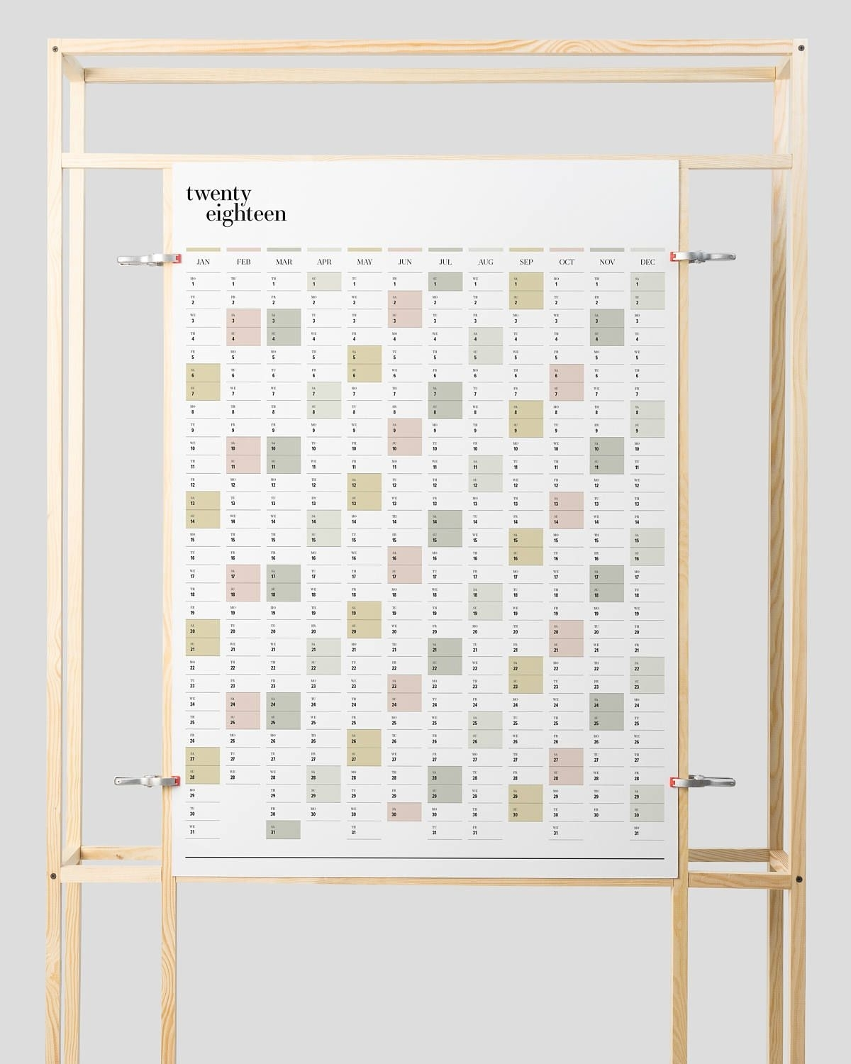 Printable Pdf | A2 Wall Planner Duo | 2019 + 2020 | Portrait
