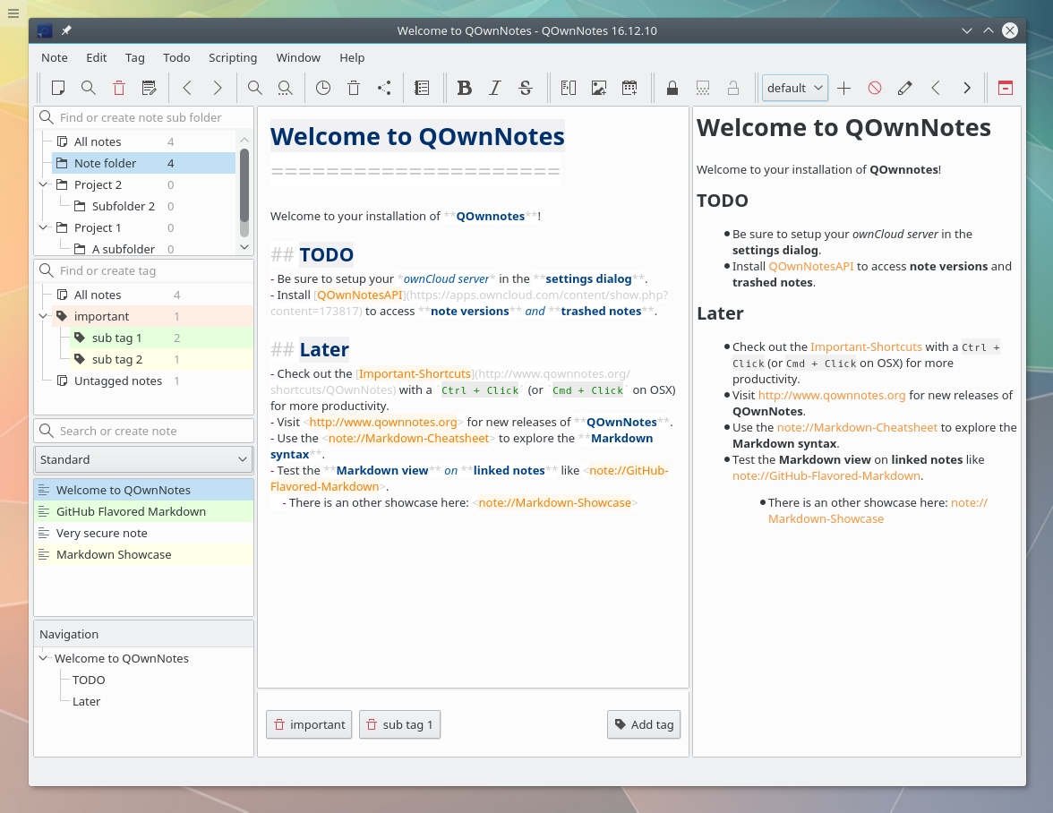 Qownnotes - Cross-Platform Open Source Plain-Text File Notepad