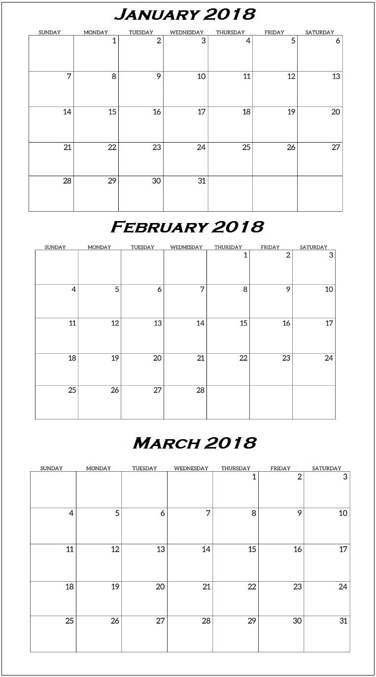 Quarterly Printable Calendar 2018 | Latest Calendar