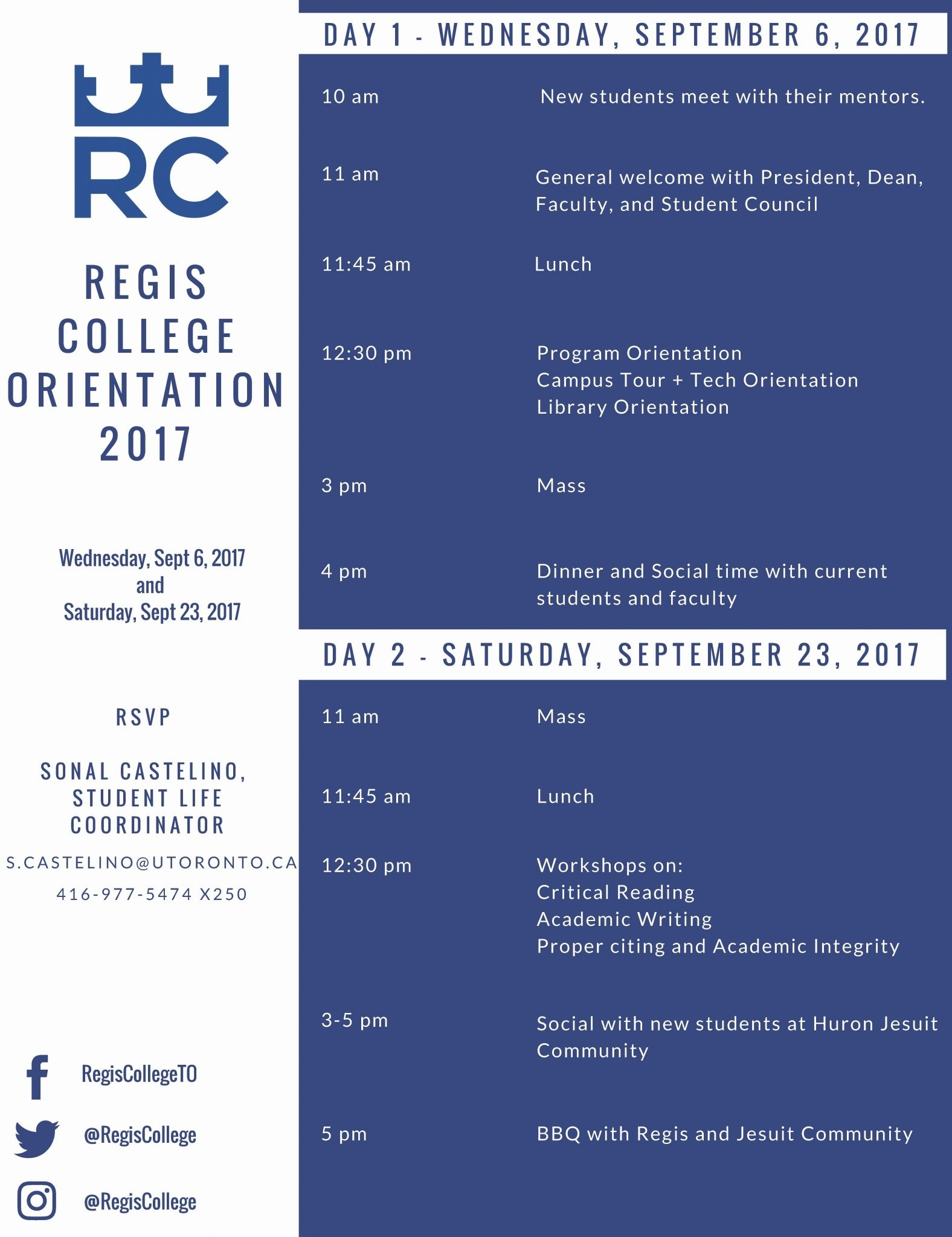 Regis College Student Orientation Day #1 (Mandatory For All