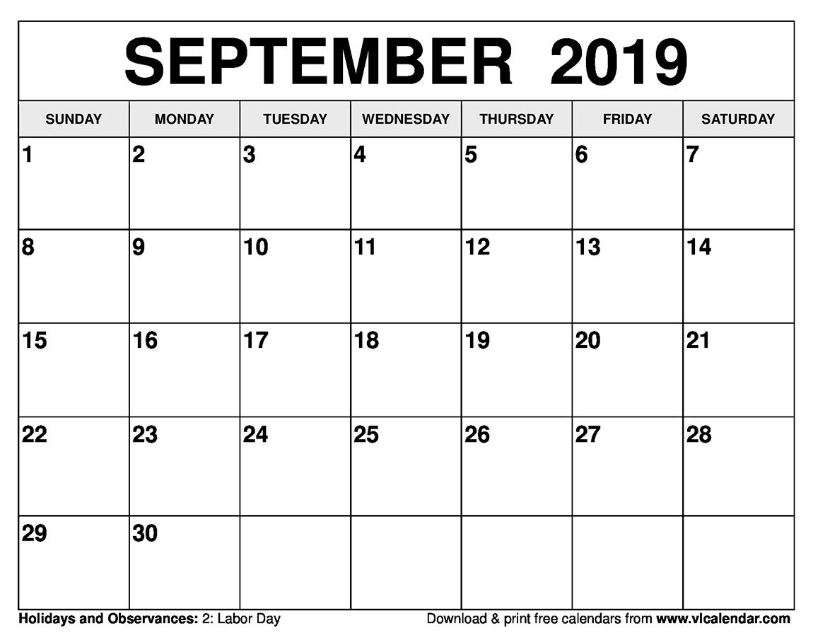 September 2019 Calendar Printable Templates