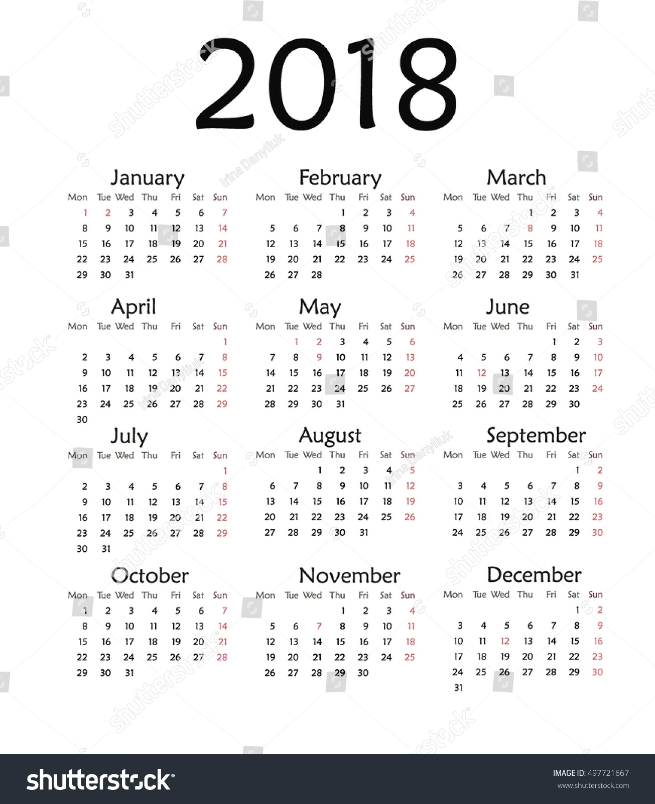 Simple Calendar 2018 Vector Template Design Stock Vector