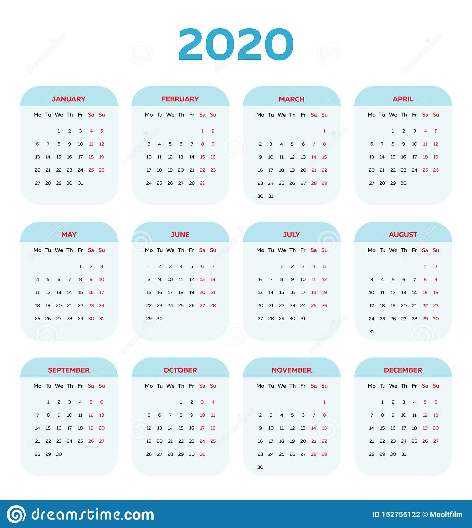 The 2020 Calendar Template With Rounded Angled Boxes Stock
