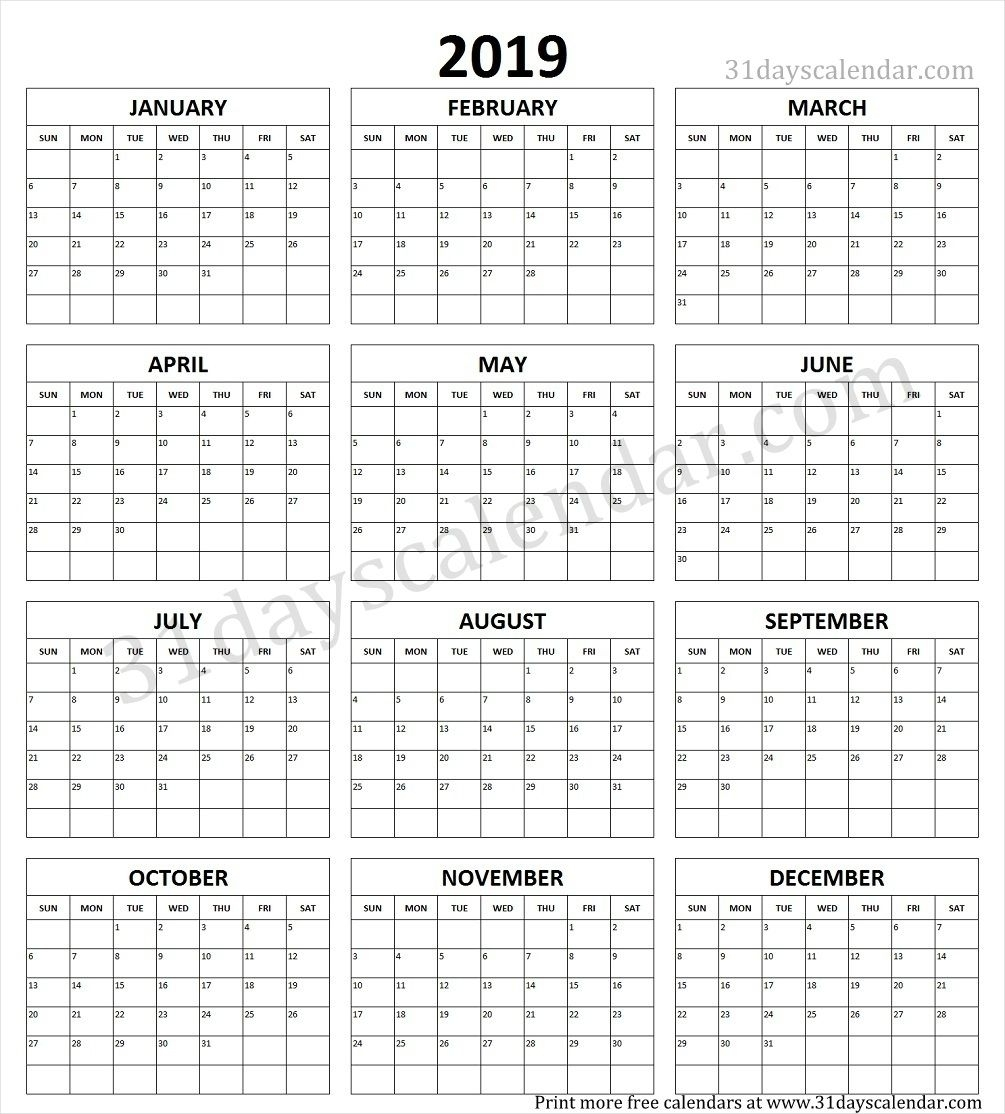 Year Calendar 2019 Printable One Page | Yearly Calendar 2019
