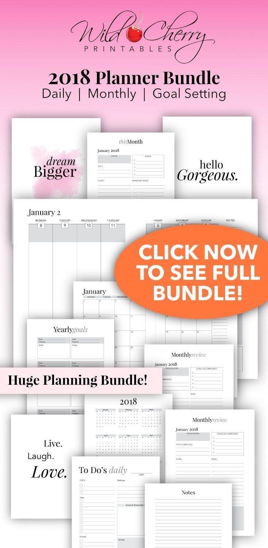 2018 Planner Printable, 2018 Agenda, 2018 Weekly Planner, A4