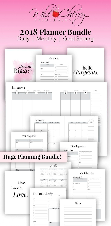 2018 Planner | Printable Planner | 2018 Monthly Planner