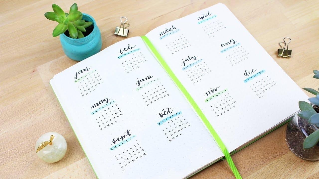 2018 Thumbnail Calendar Set Up In My Bullet Journal