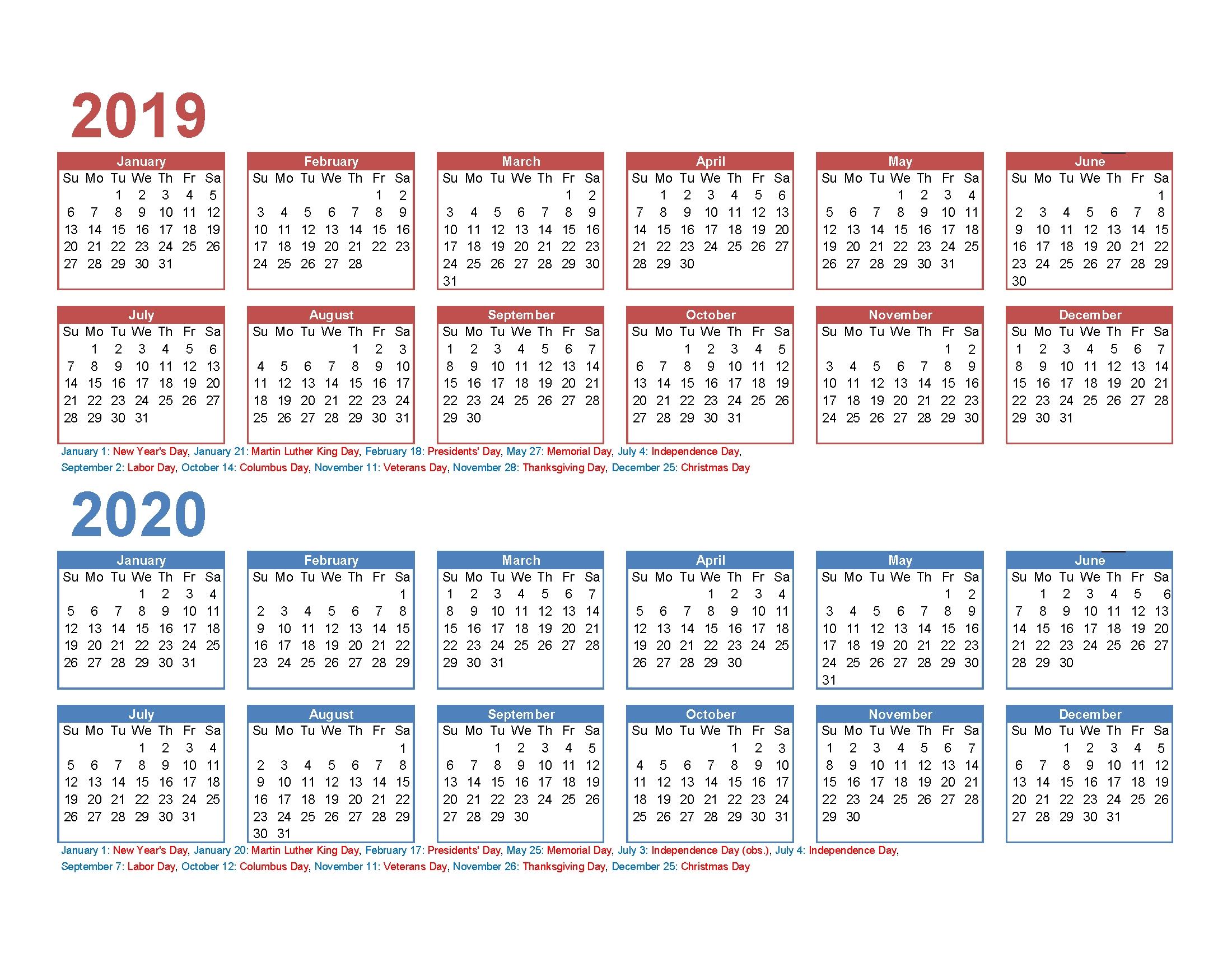 Print 2 Year Calendar   Ten Free Printable Calendar 2020-2021