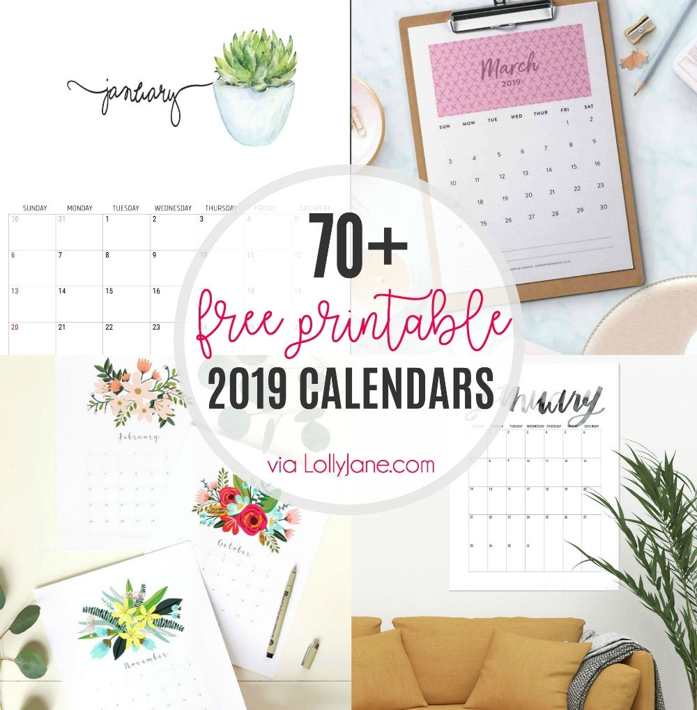 2019 Free Printable Calendars - Lolly Jane