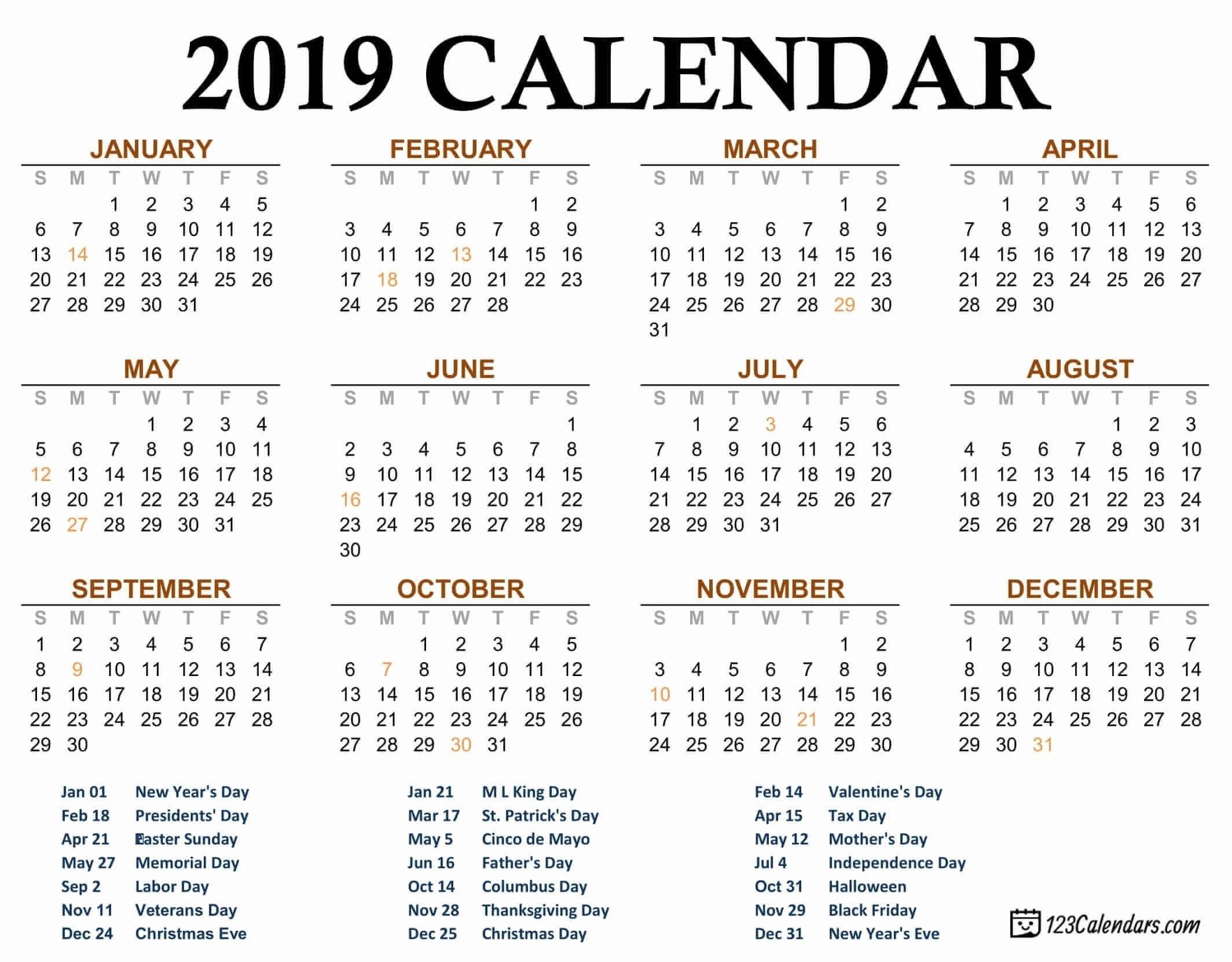 2019 Printable Calendar - 123Calendars Free Check More At
