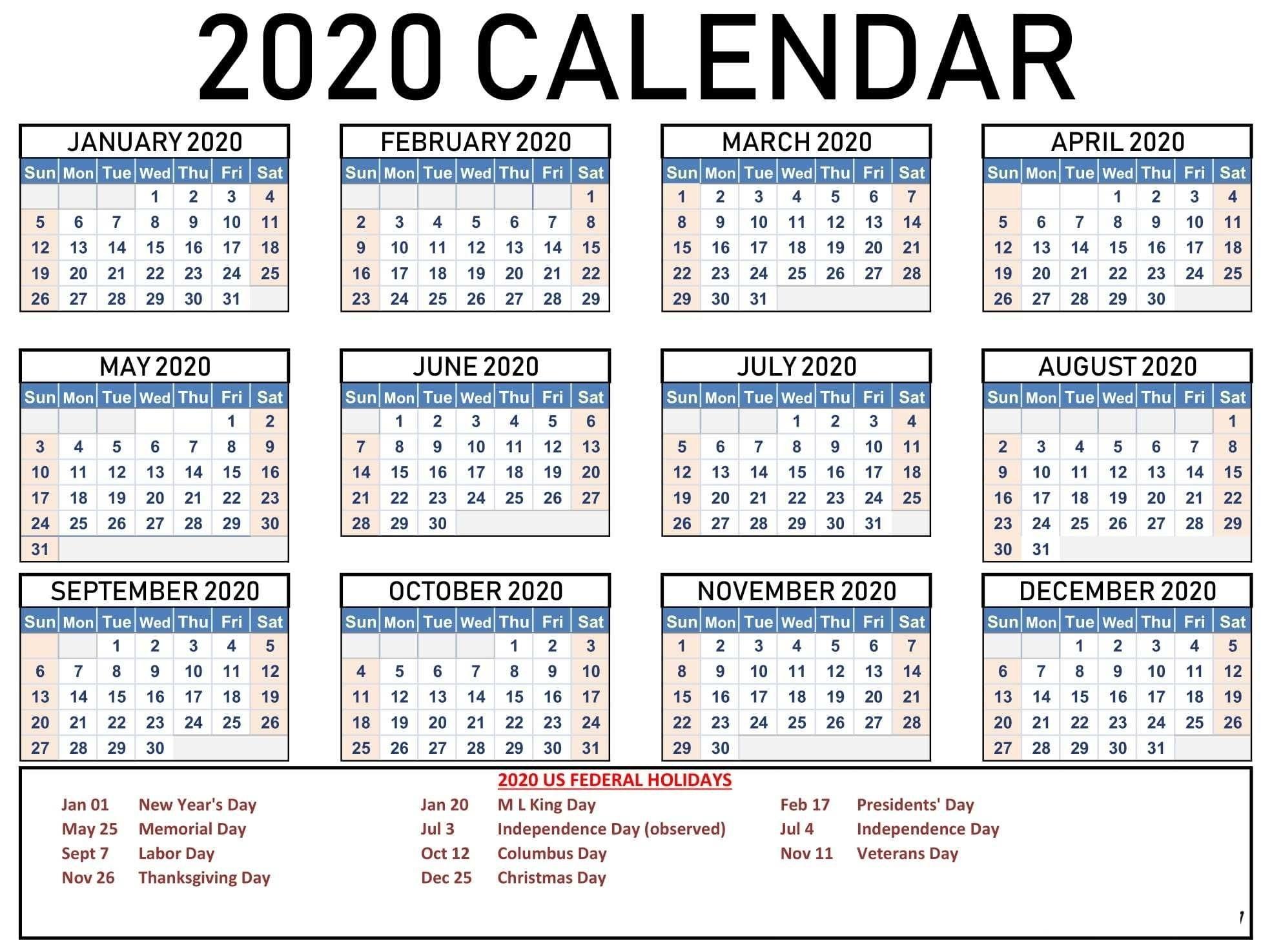 1 Click Print Calendar | Ten Free Printable Calendar 2020-2021