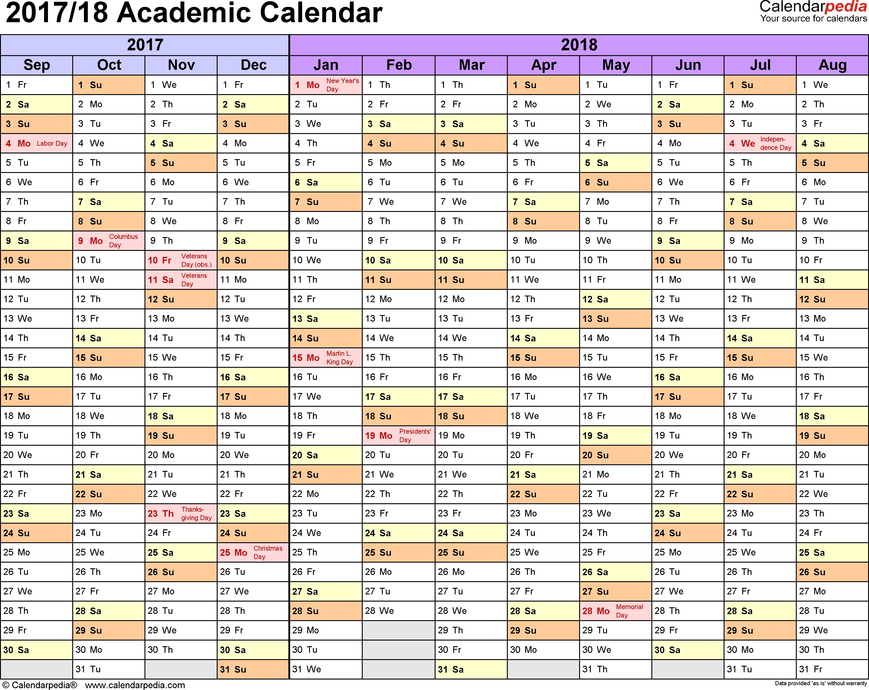 Academic Calendars 2017/2018 - Free Printable Pdf Templates