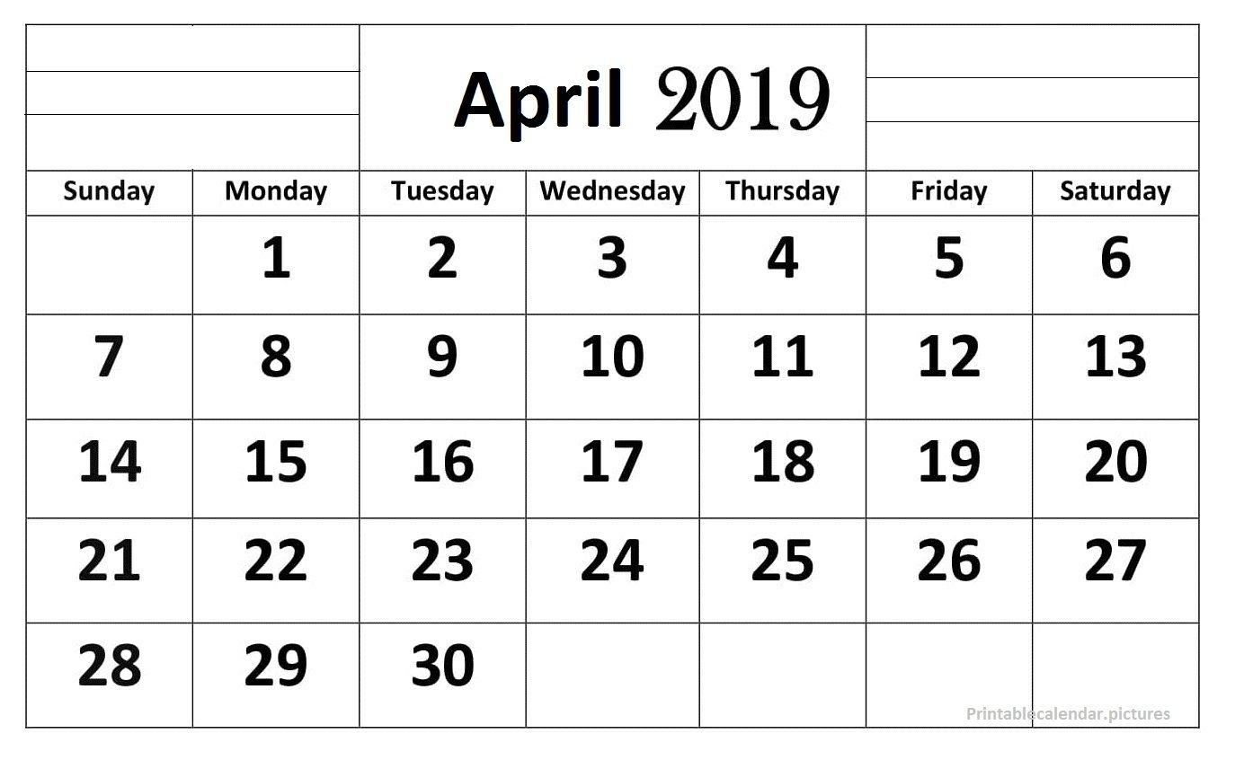 April 2019 Calendar Printable Large Print | Calendar