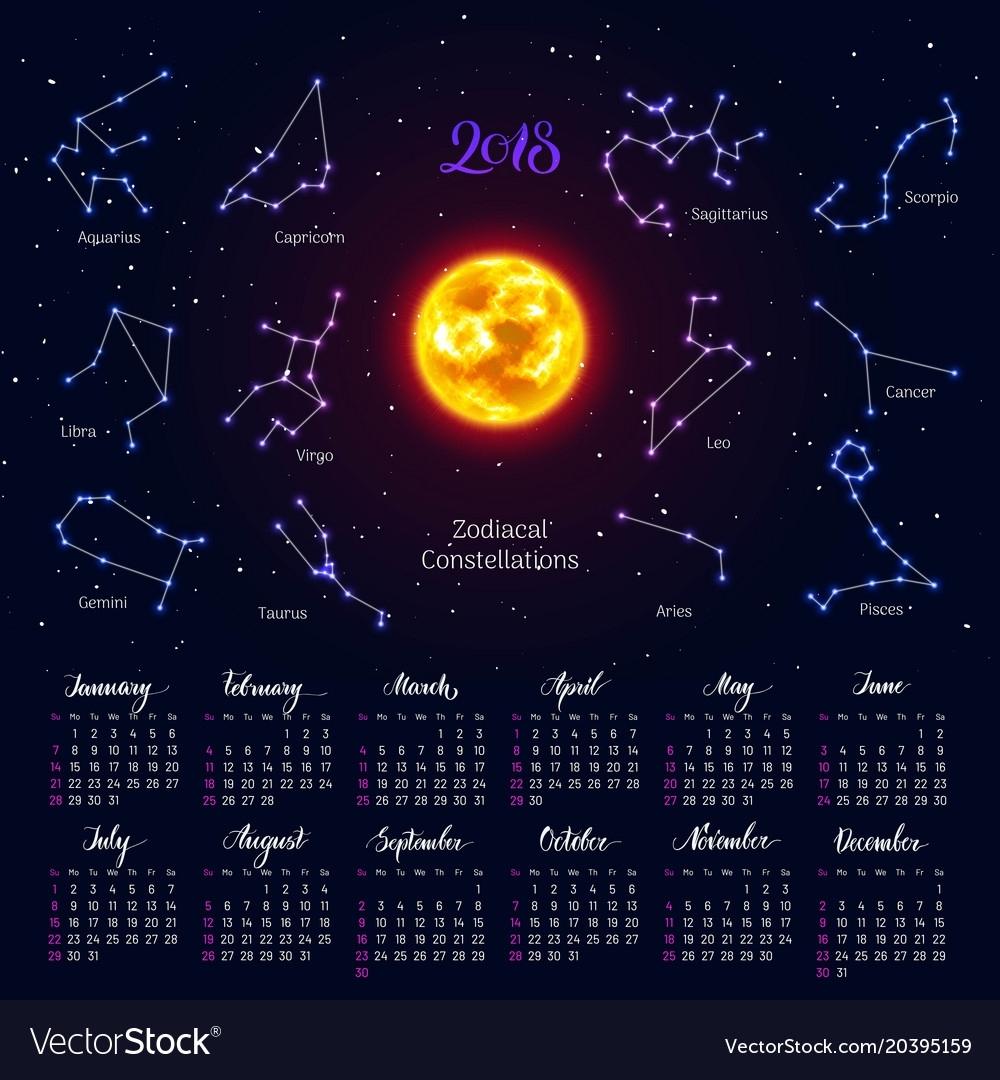 Calendar Sun Zodiac Signs 2018 Night Sky