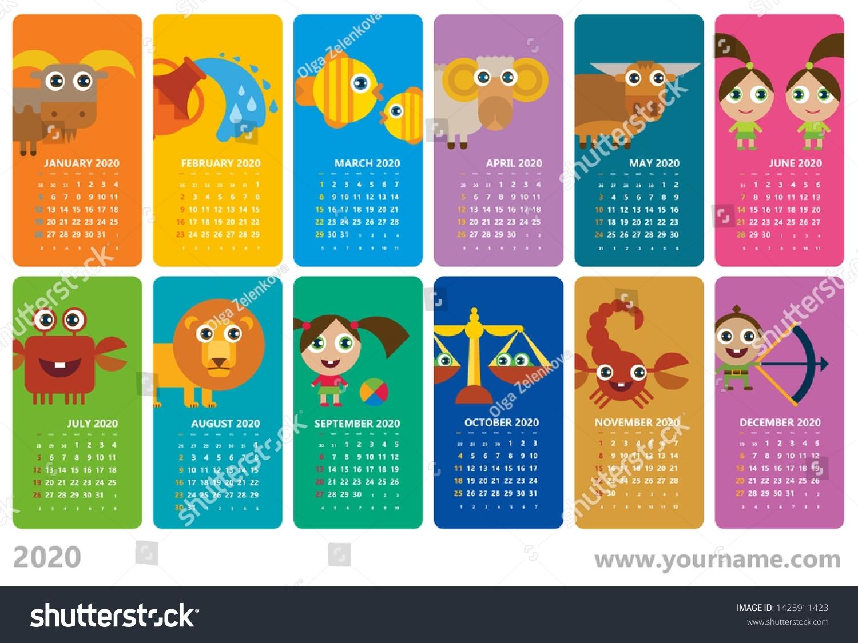 Creative Calendar 2020 Horoscope Signs Zodiac Stock Vector