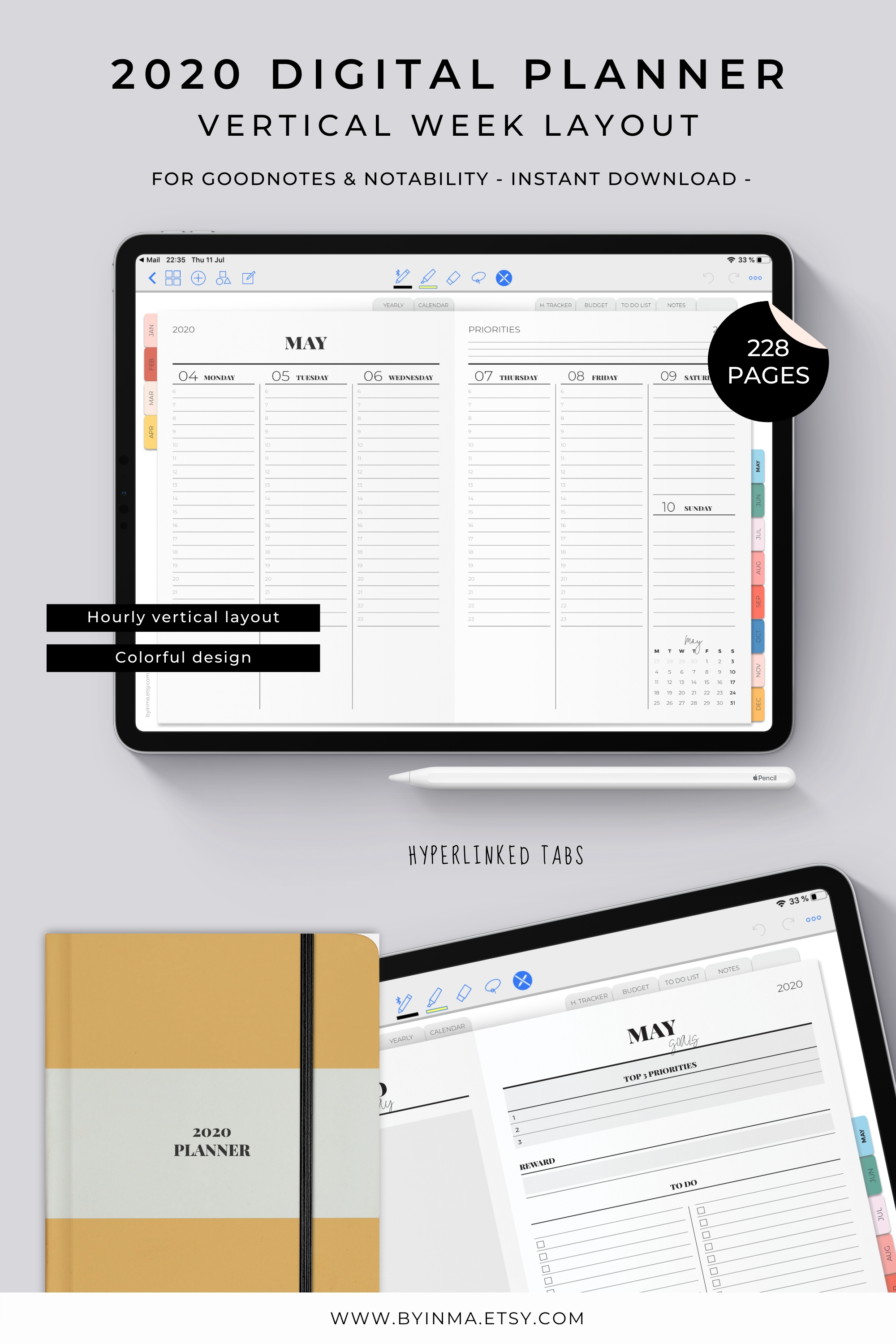 Digital Planner Hourly 2020, Goodnotes Template, Planner