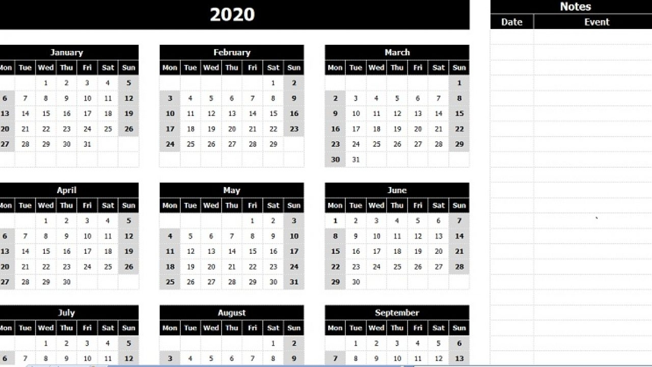 Download 2020 Yearly Calendar (Mon Start) With Notes Excel