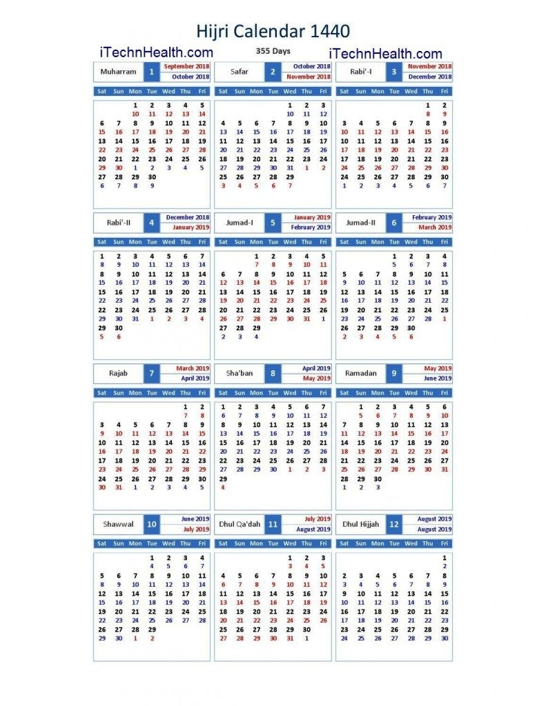 Download Calendar 2019 And Islamic Calendar 2019 / 1440