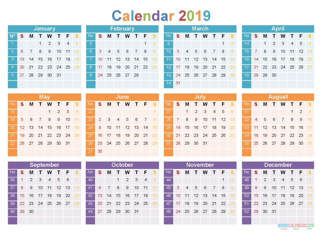 Download Printable 2019 Yearly Calendar Tempalte [Us Edition