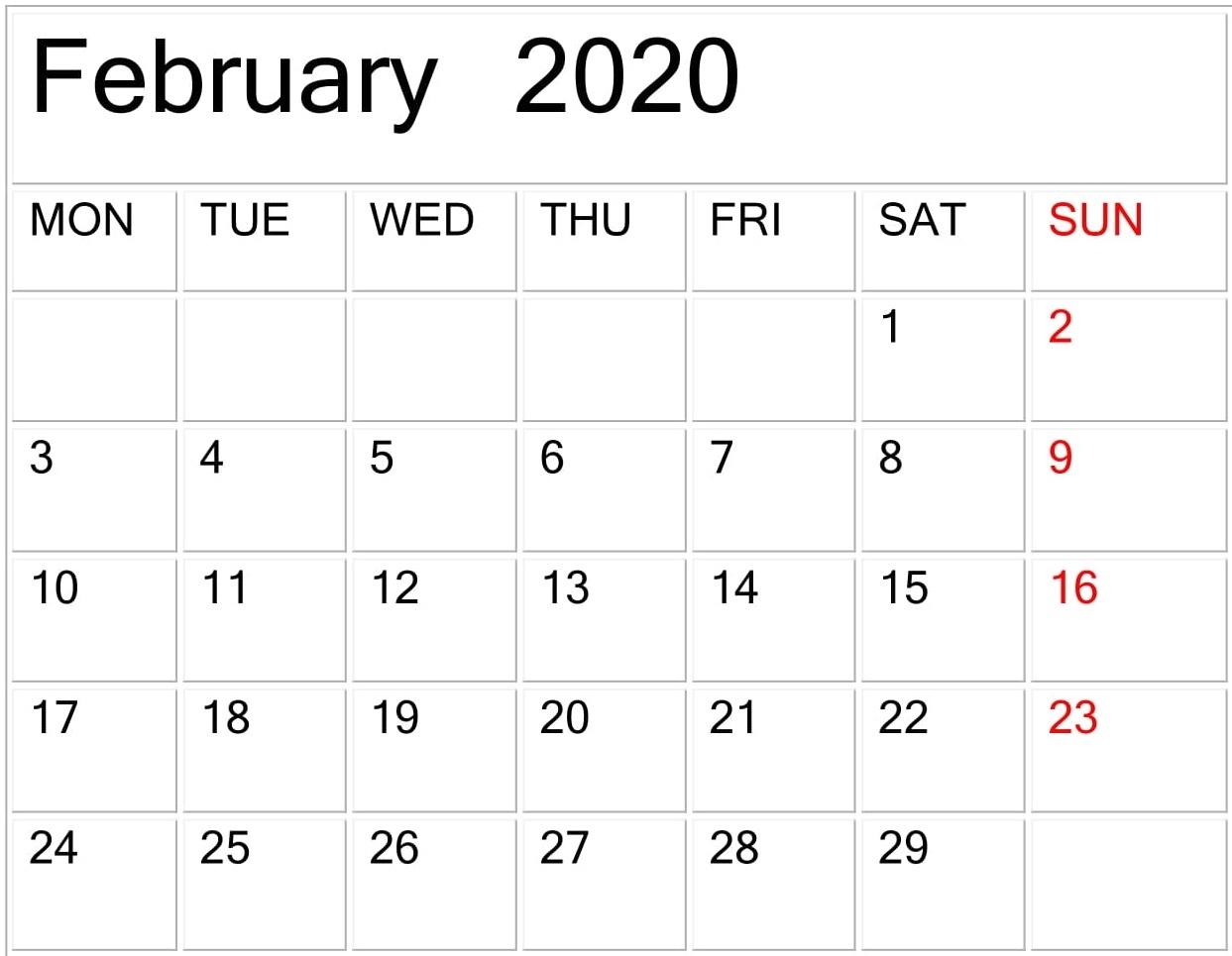 February 2020 Calendar Template Large Print - Latest