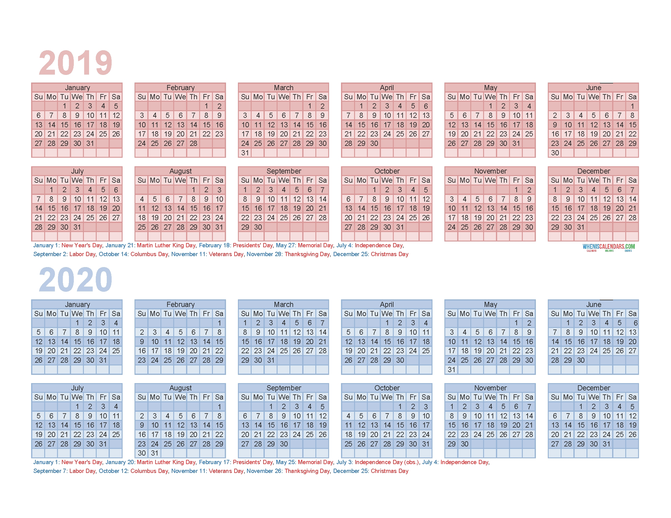 Print 2 Year Calendar | Ten Free Printable Calendar 2020-2021
