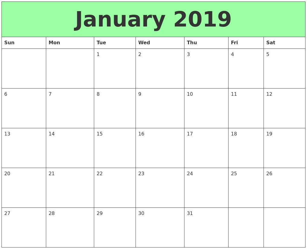 Free 2020 January Landscape & Portrait Calendar Download