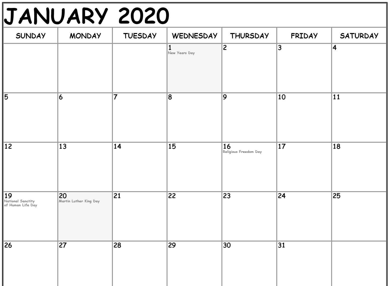 Free Fillable January Calendar 2020 Printable Editable With