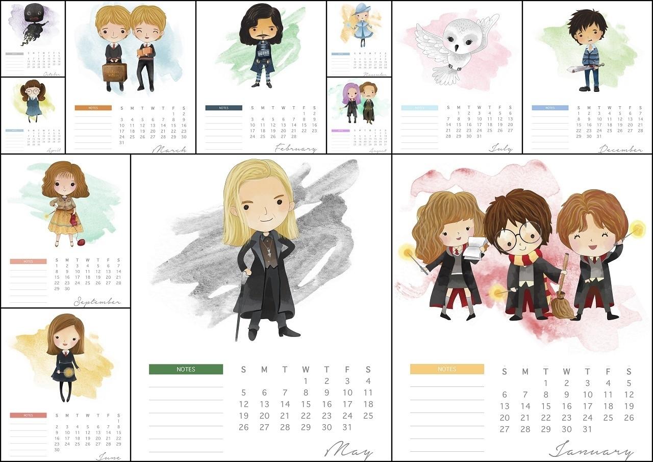 Free Printable Calendar Harry Potter   Ten Free Printable ...