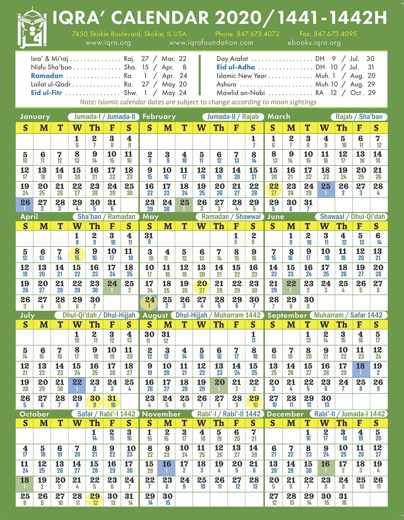 Iqra' Calendar 2020 / 1441-1442H Islamic Dates