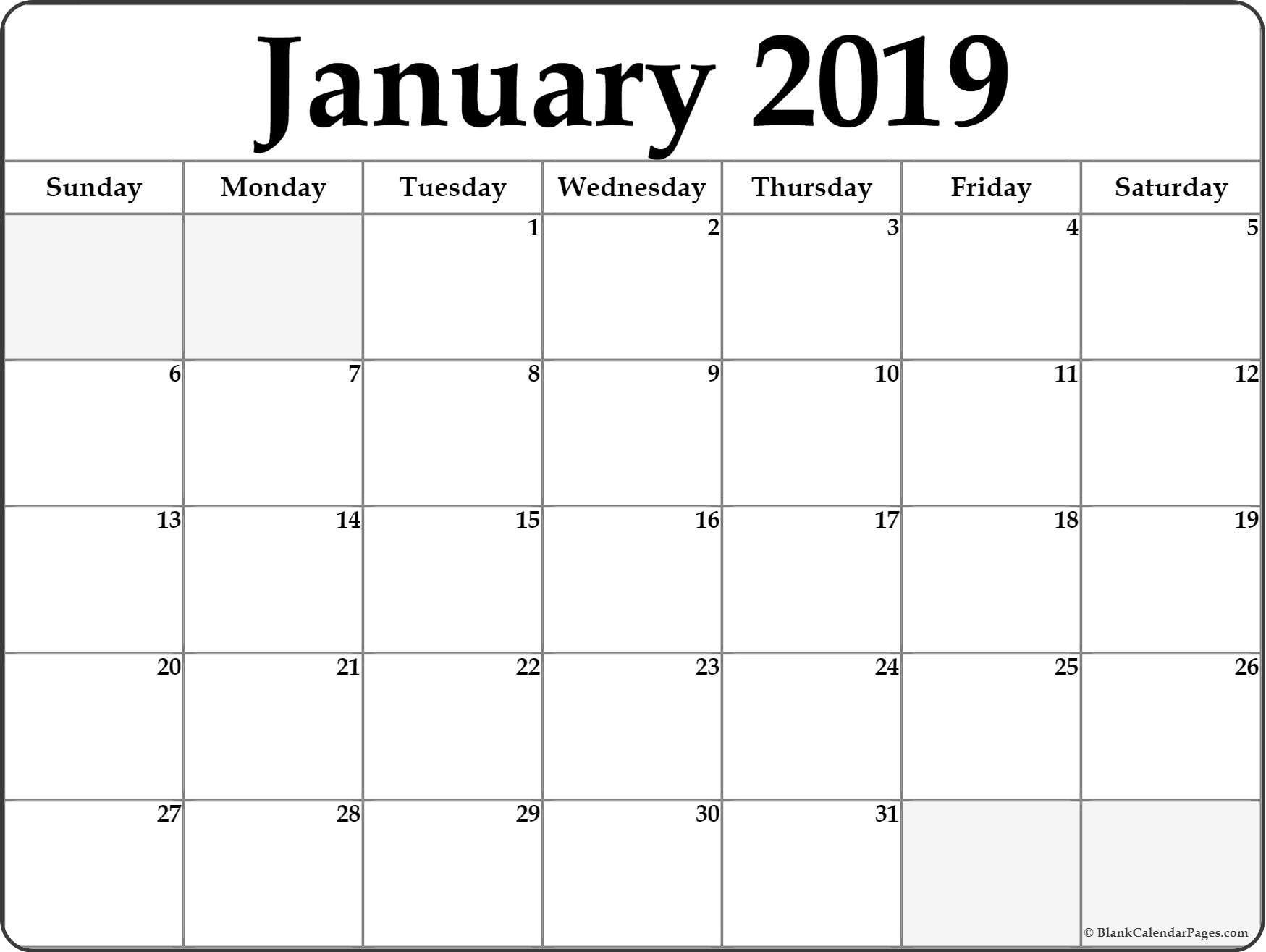 January 2019 Calendar Landscape | Printable Blank Calendar