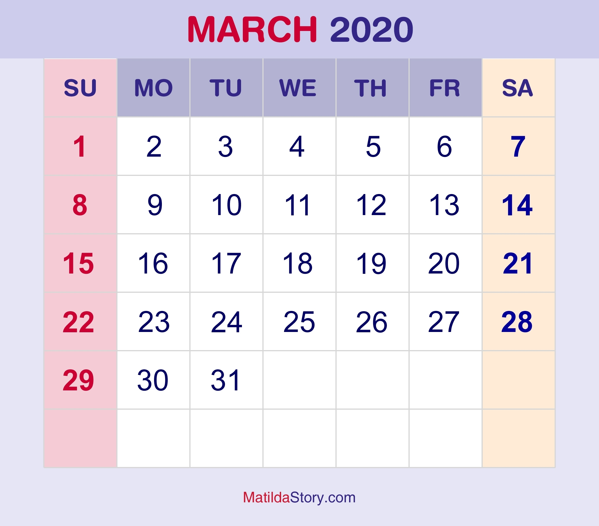 March 2020 Monthly Calendar, Monthly Planner, Printable Free