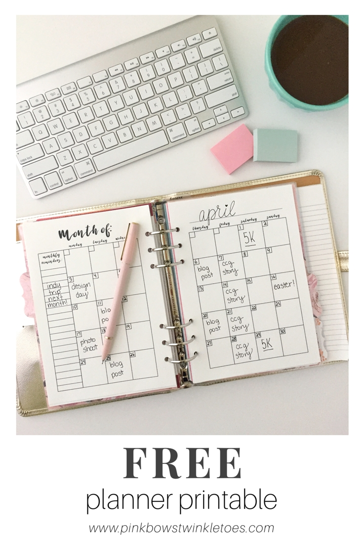 Monthly Calendar: Free Printable Planner Insert | Planner