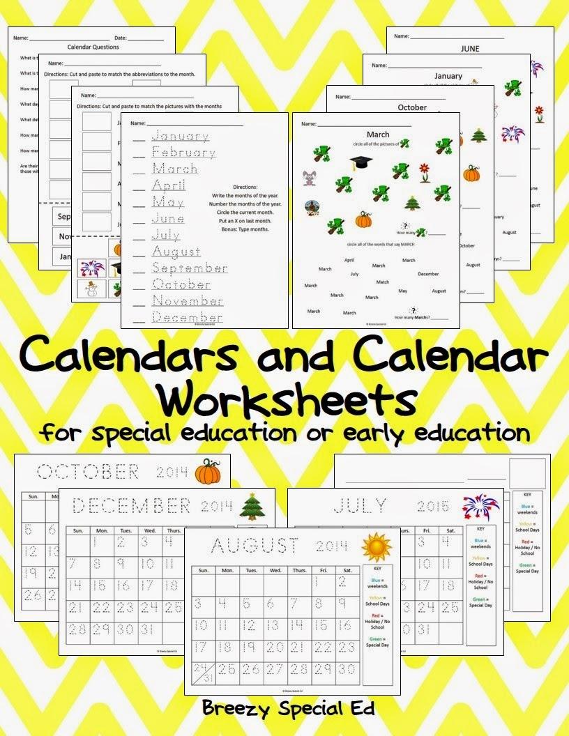 Monthly Calendar Worksheets + August Freebies! - Breezy