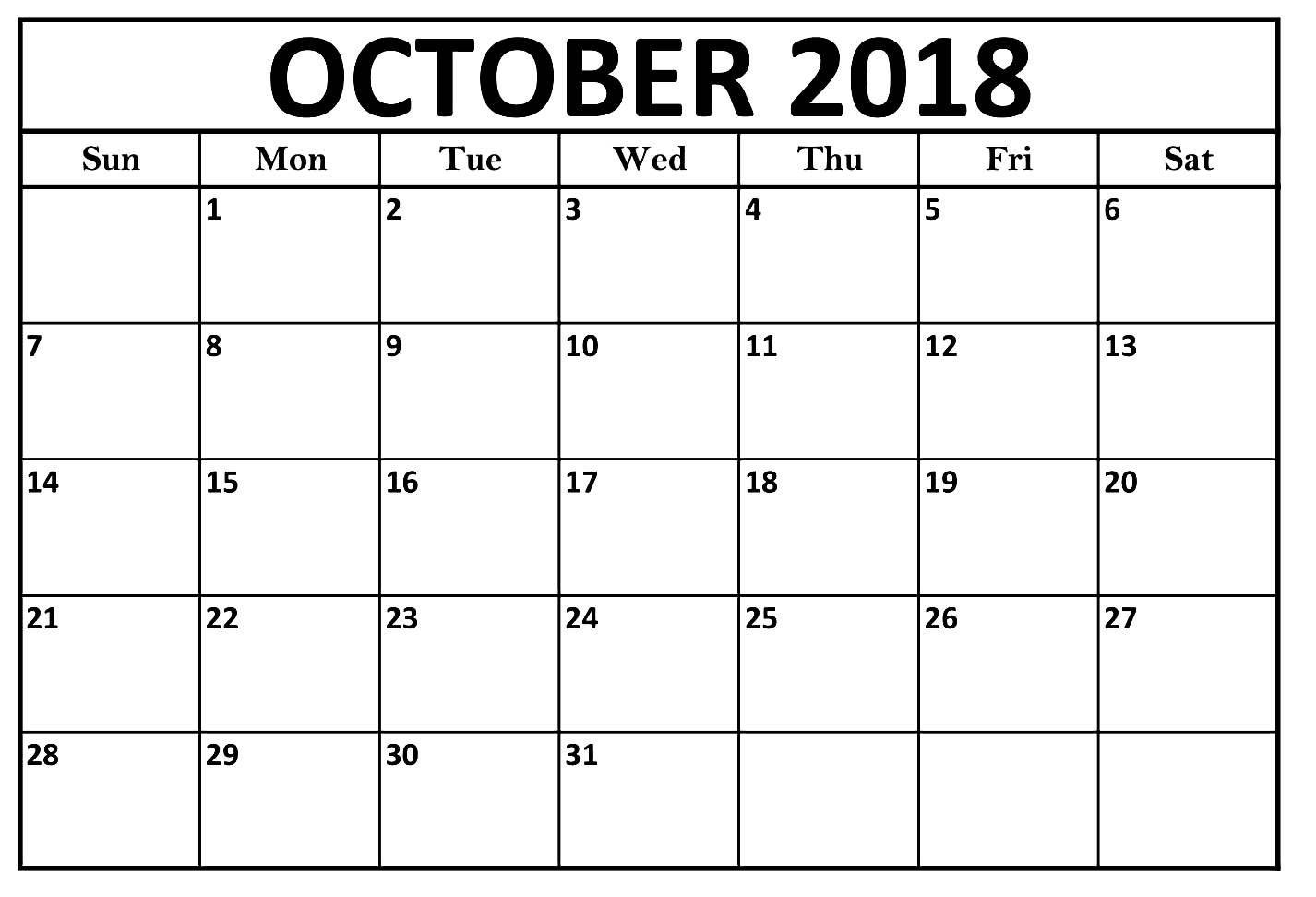 October Calendar 2018 Large Print Template | Calendar