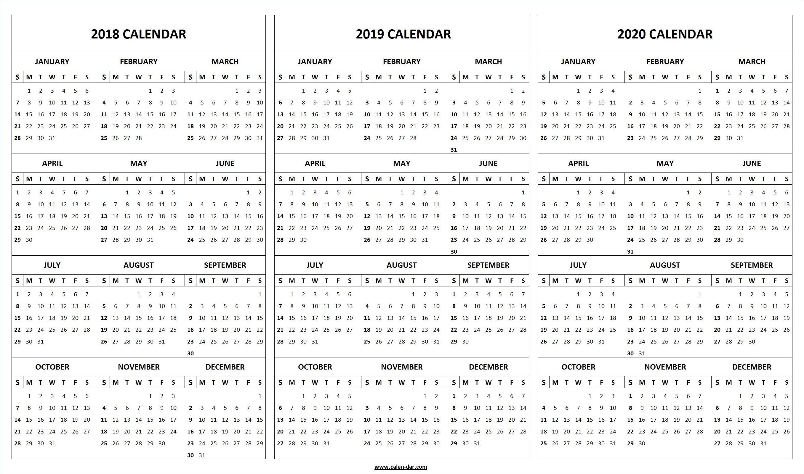 Printable 2018 2019 2020 Calendar Template   Calendar
