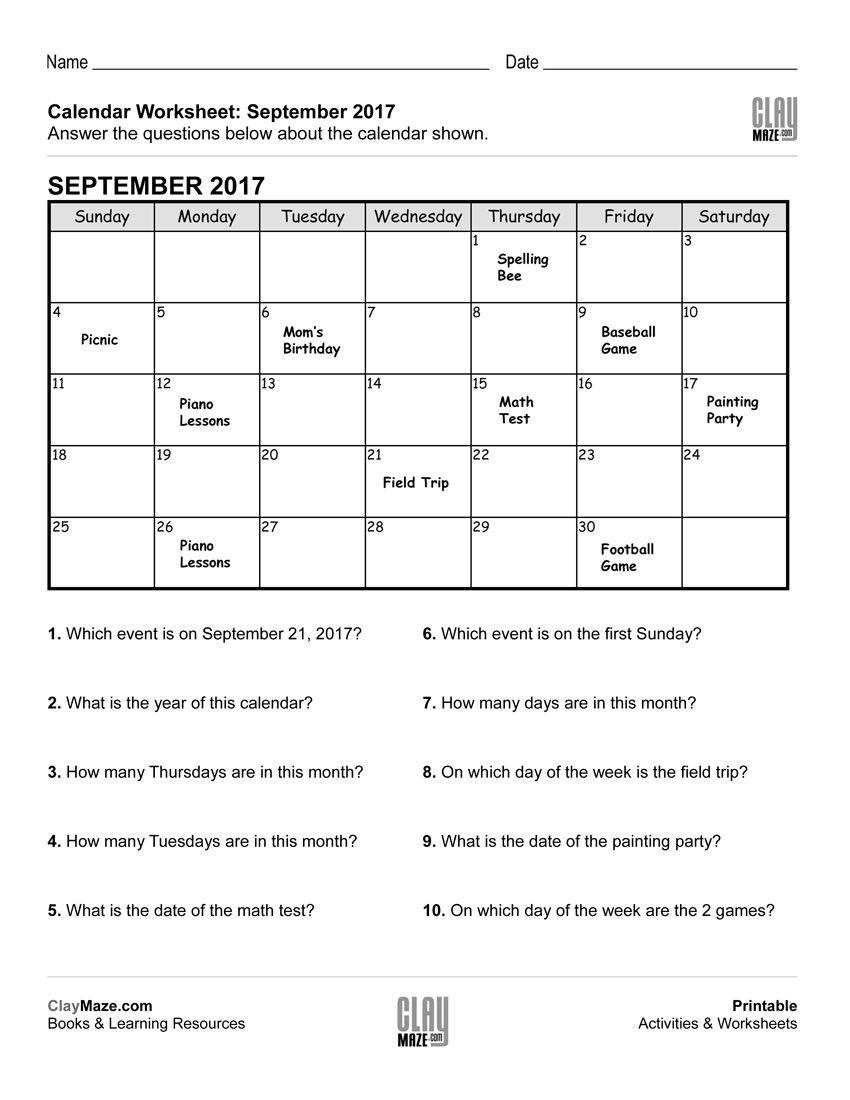 Reading A Calendar Worksheet – D   Calendar Worksheets