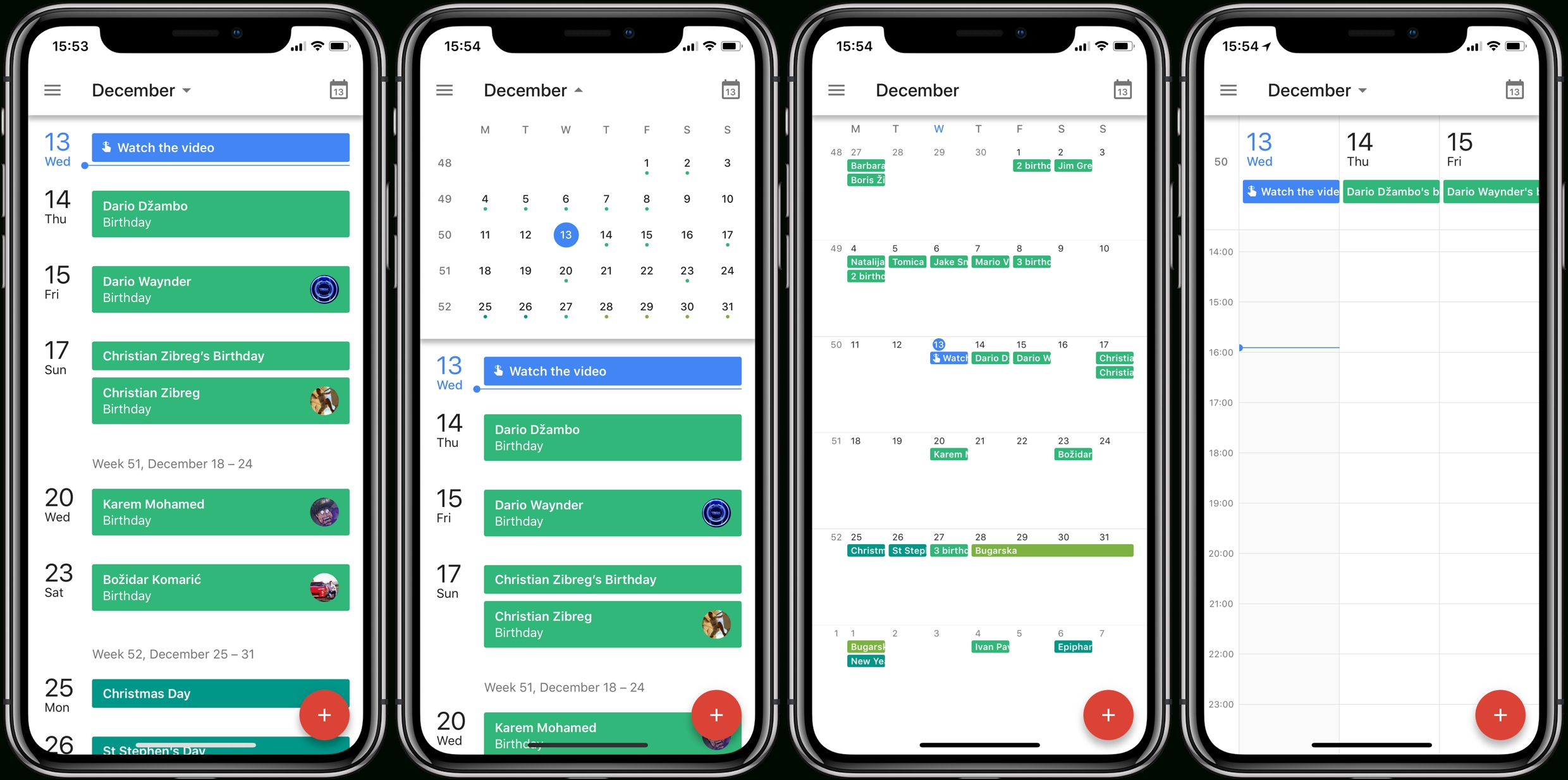 Timeline View, Day View, Week View, Month View And Add Event