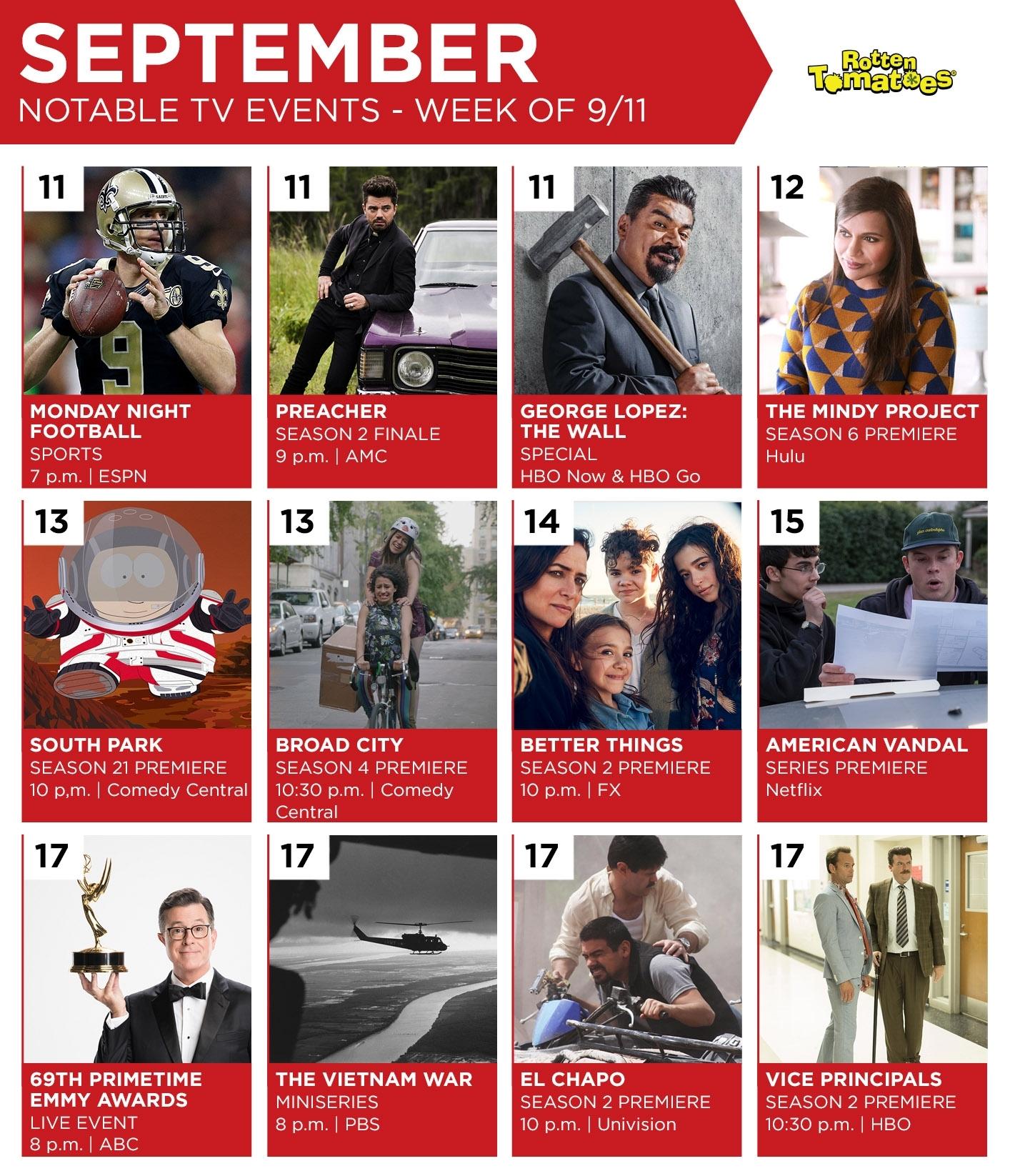 Tv Calendar For The Week Of September 11 << Rotten Tomatoes