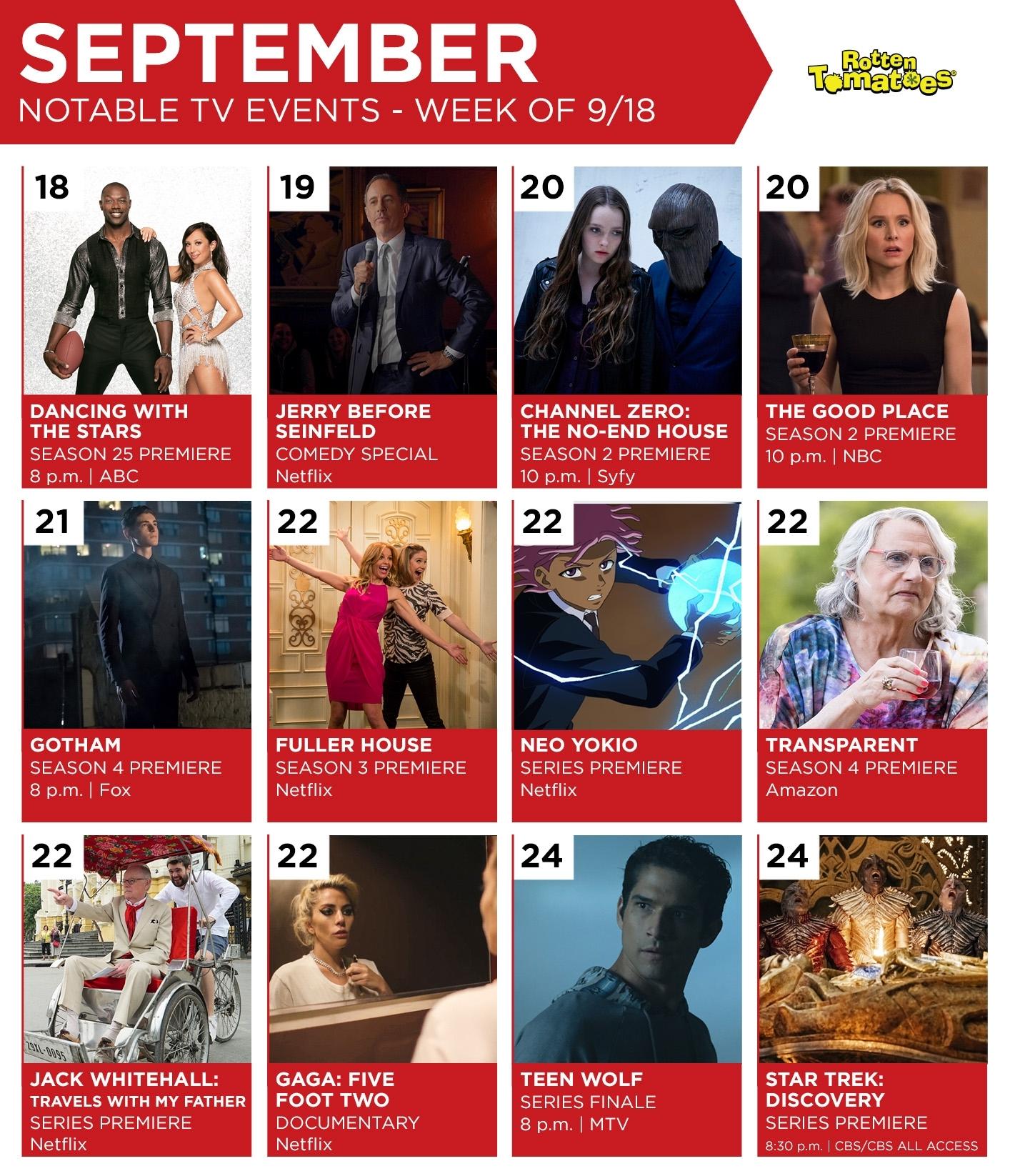 Tv Calendar For The Week Of September 18 << Rotten Tomatoes