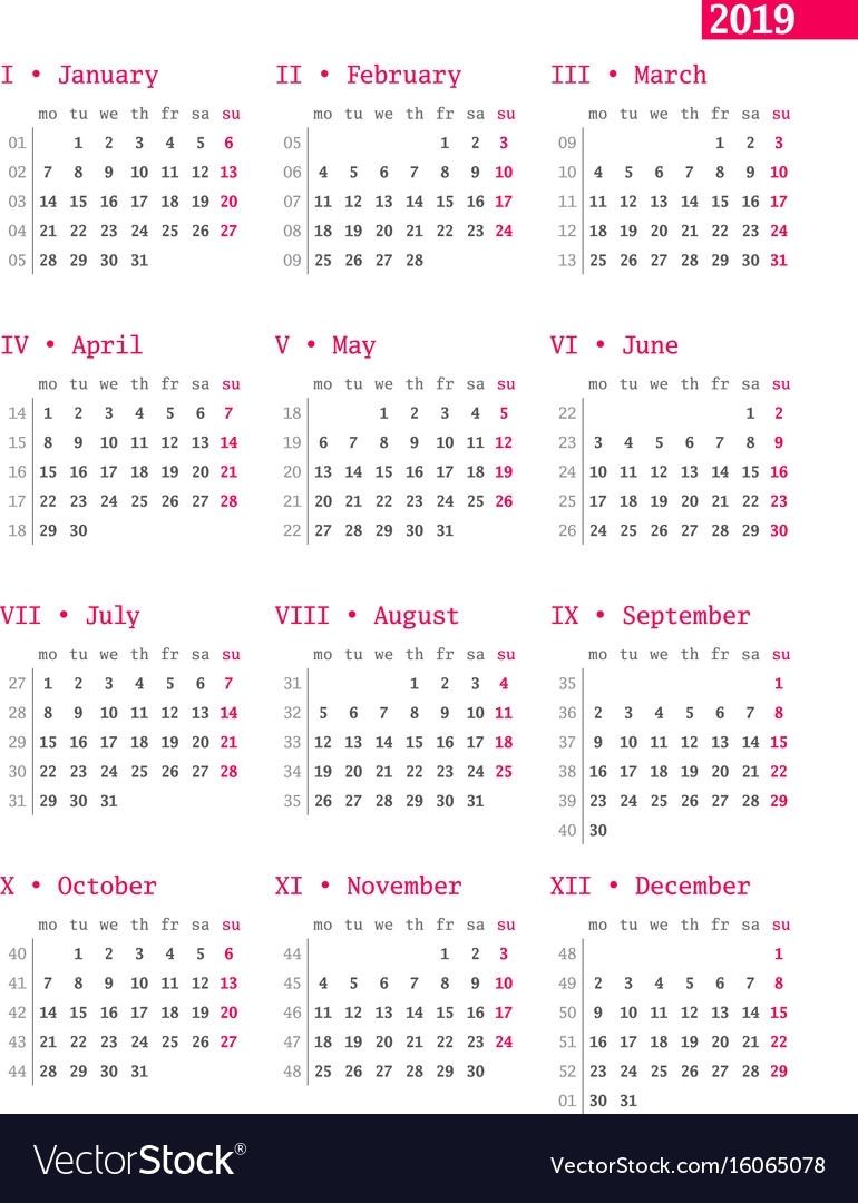 Year Calendar Numbered Weeks   Ten Free Printable Calendar ...
