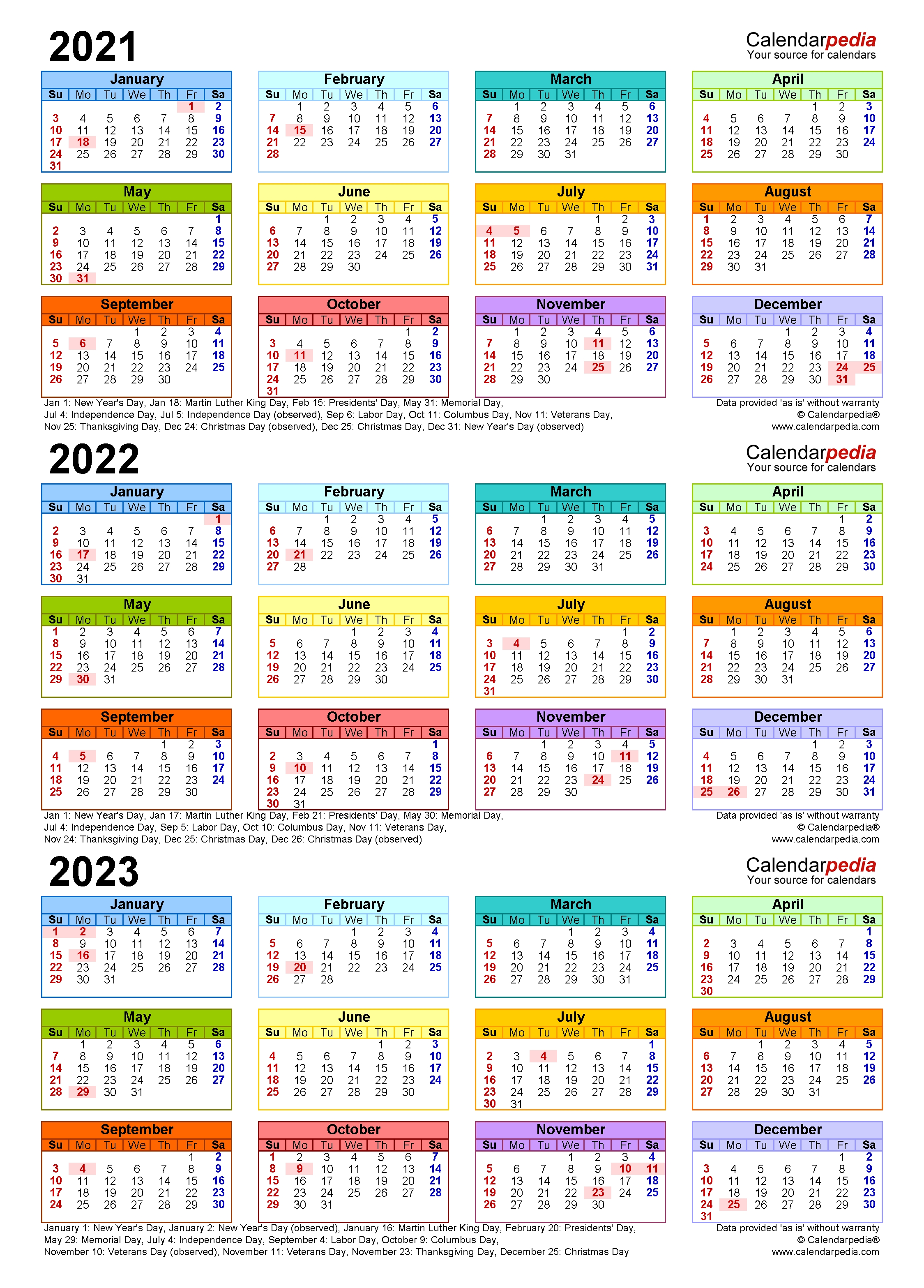 3 Year Calendar 2021 To 2023   Ten Free Printable Calendar ...