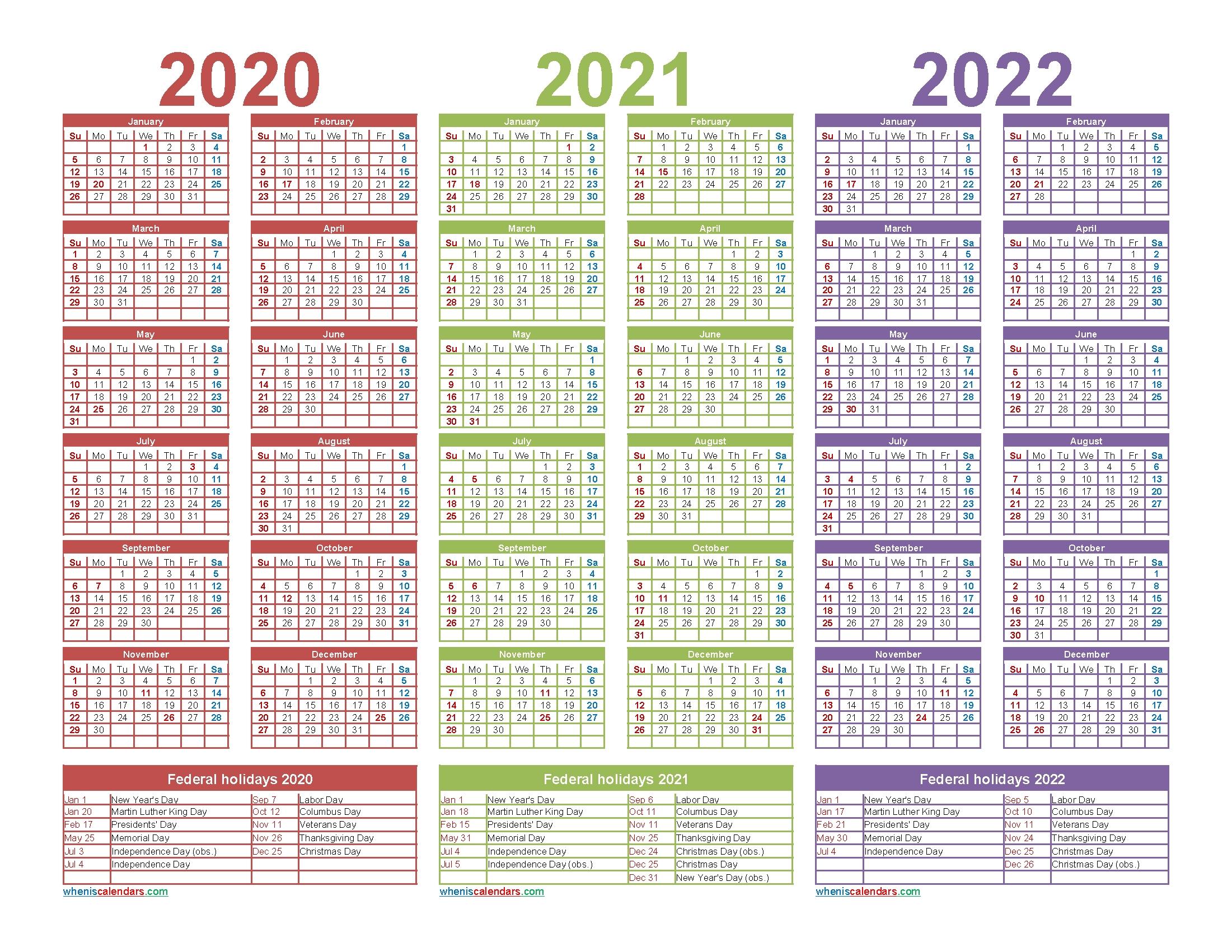 3 Year Calendar 2020 To 2022 Printable   Free Printable 2020