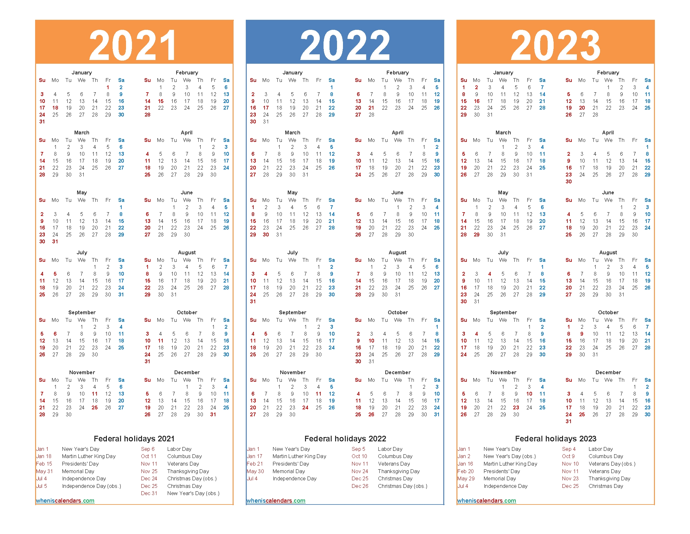 Free Printable 2021 To 2023 Calendar With Holidays | Free