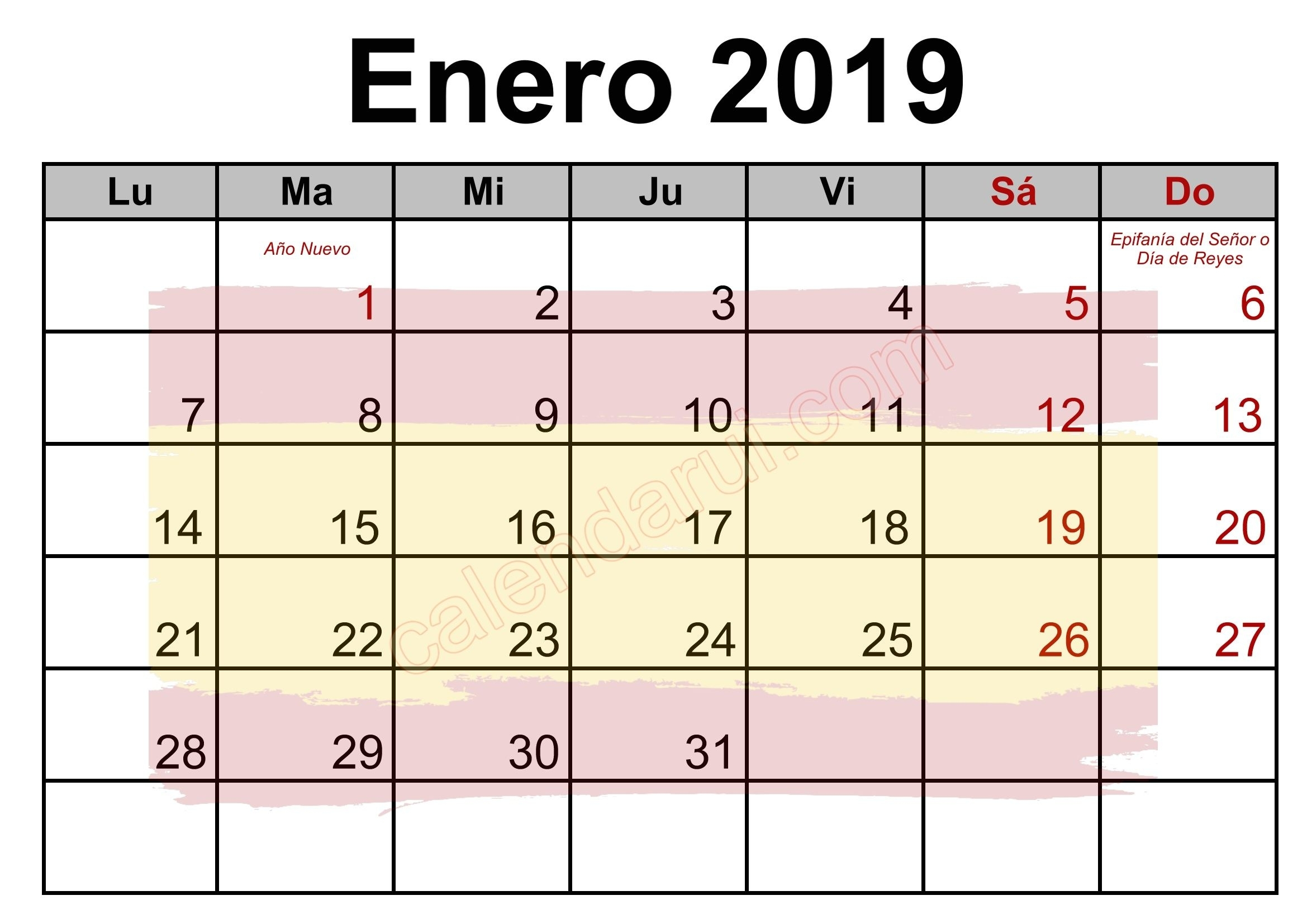 1 January Spain Calendar Holidays 2019 Monthly | Holiday