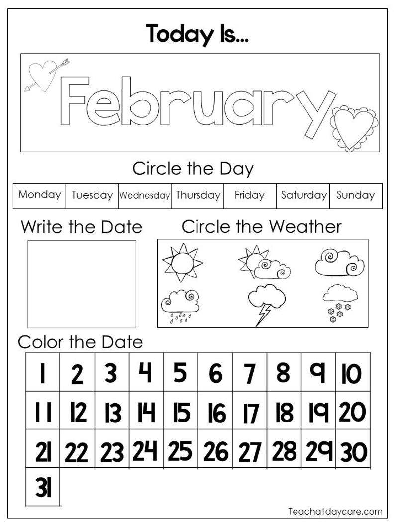 12 Printable Preschool Calendar Worksheet Pages. Month, Day