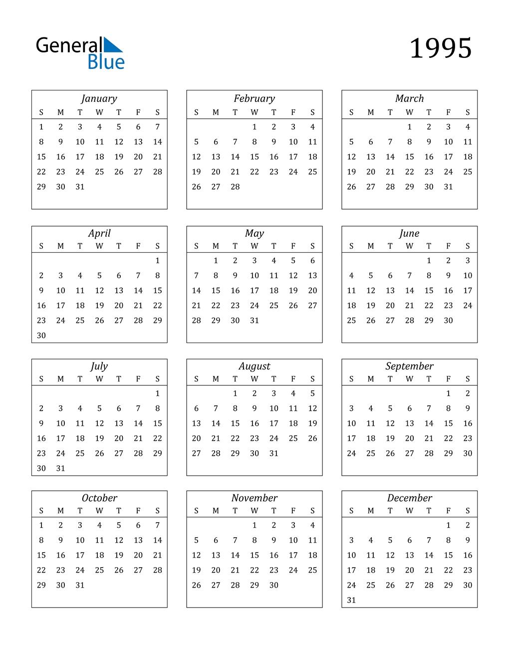 1995 Calendar (Pdf, Word, Excel)