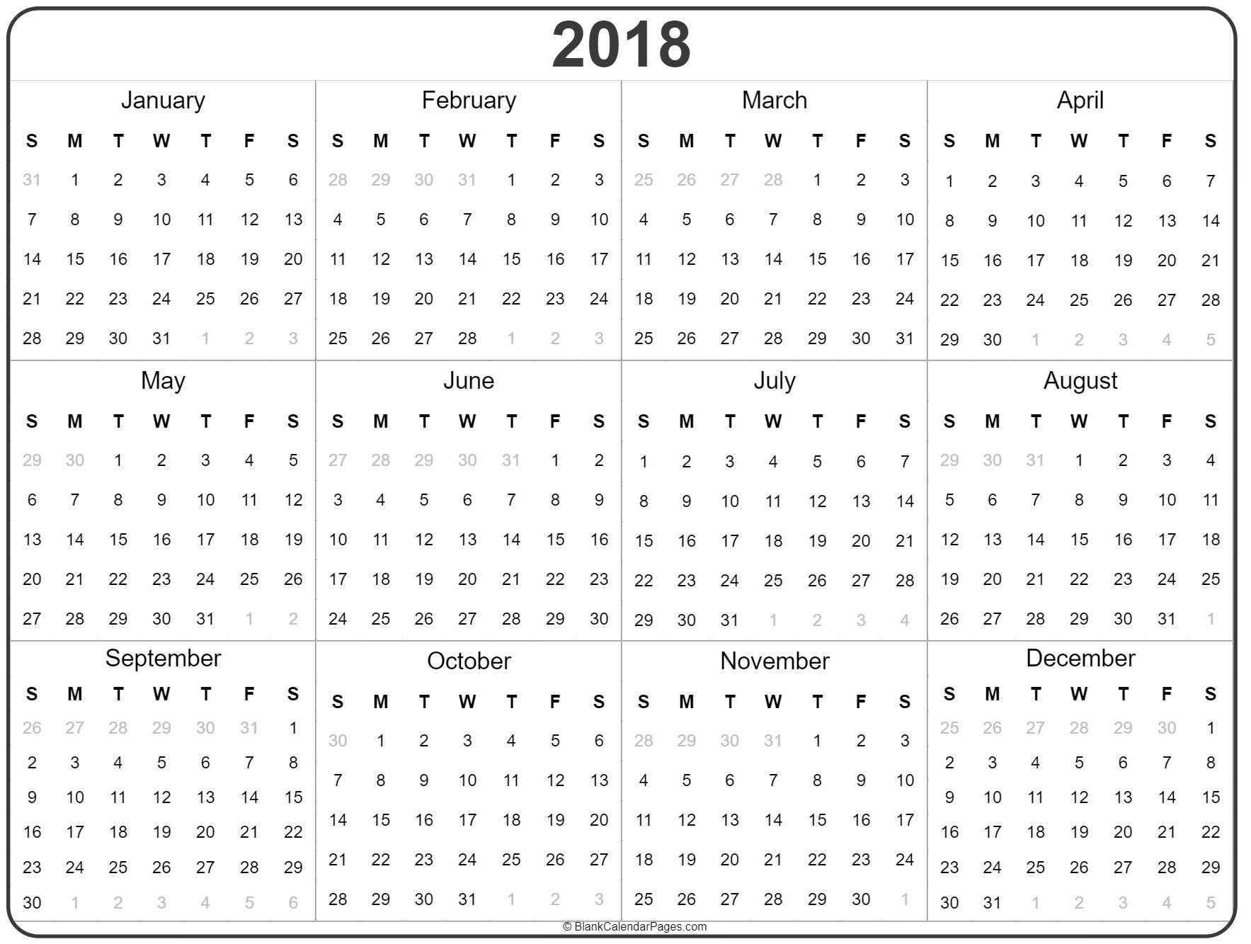 2018 Year Calendar | Yearly Printable