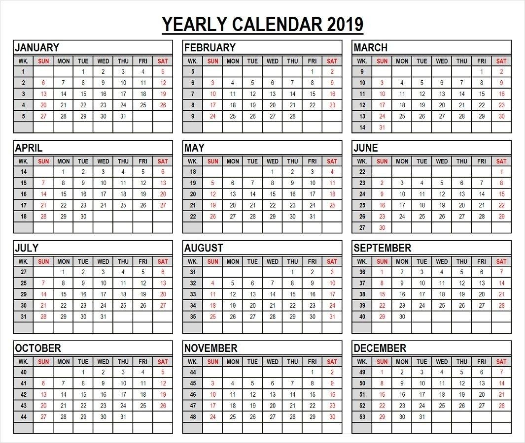 2019 Year Calendar In Weeks | Calendar Template, Calendar