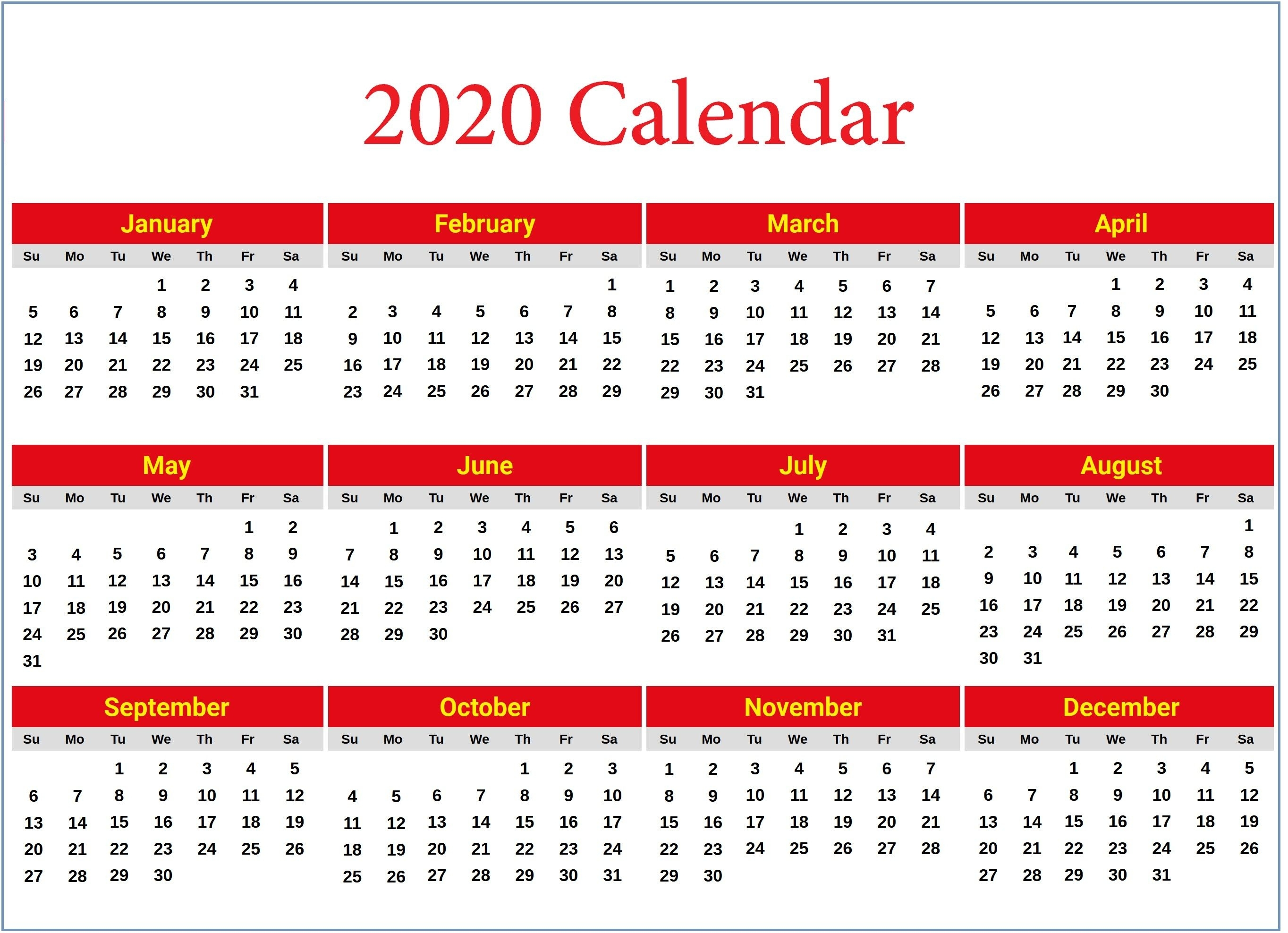 2020 Calendar 2020 Printable Calendar Download Free Blank