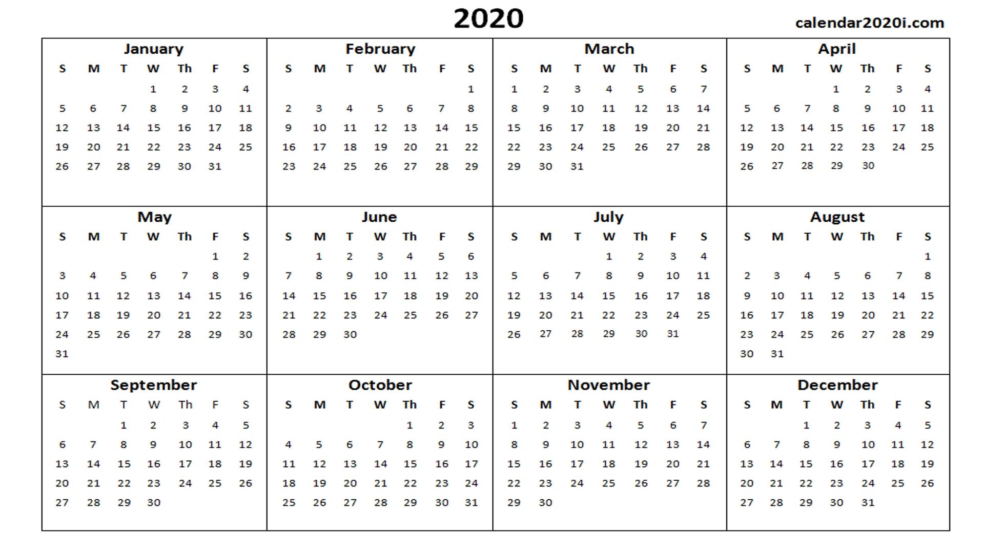 2020 Calendar Printable Template Holidays, Word, Excel, Pdf